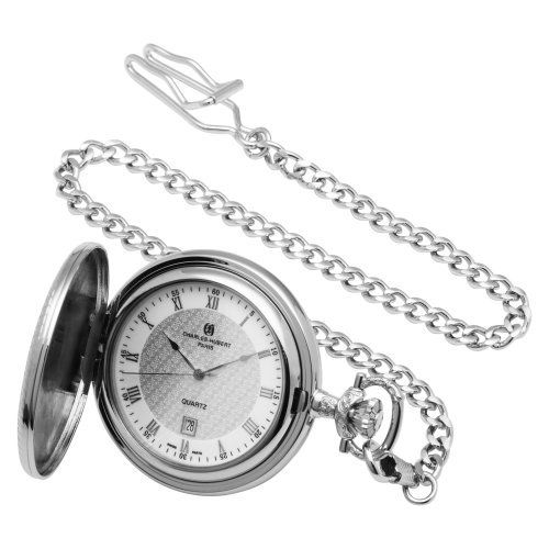 Charles-Hubert, Paris Quartz Pocket Watch Charles-Hubert, Paris. $72.00. Swiss parts quartz movement. Deluxe gift box. Chrome finish brass 47mm hunter case with a matching curb chain. White dial with date display