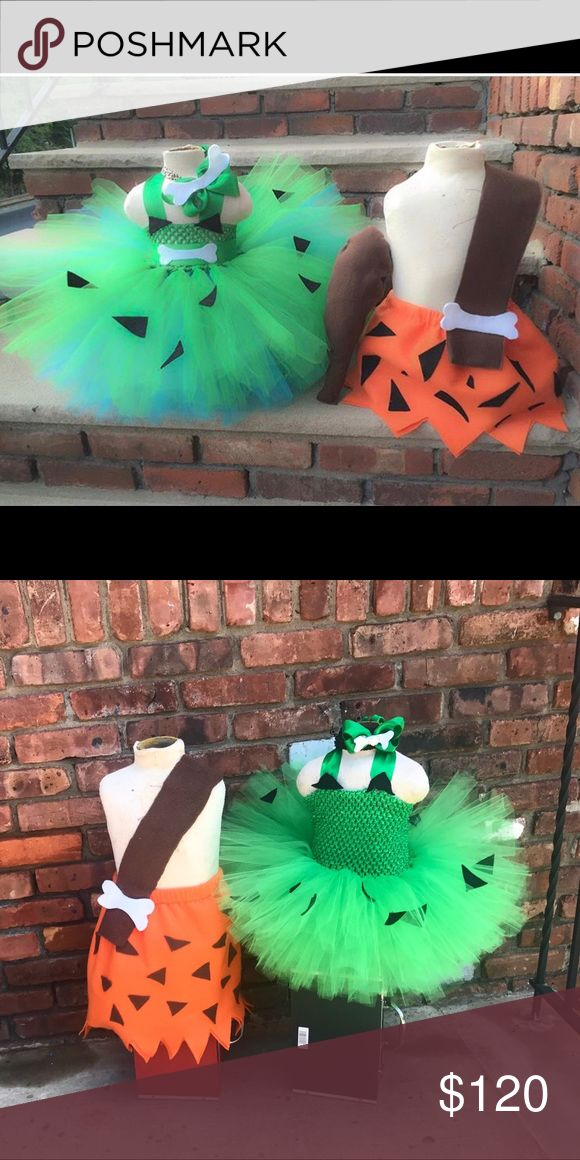 Pebbles and bam bam costume Twins? Or brother and sister? This is the perfect costume!! Handmade everything! Tutu dress is full! Turquoise and emerald green! Made on a stretchy top. Boy skirt made with thick felt and we can't forget the club!!  Head over to Emsi_Bowture on the gram to view more and special discounted prices when you mention Poshmark! Costumes Halloween