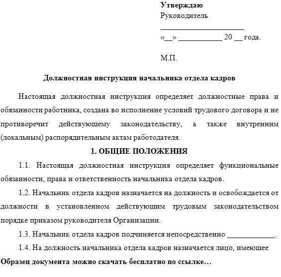 Должностная инструкция директора кинотеатра