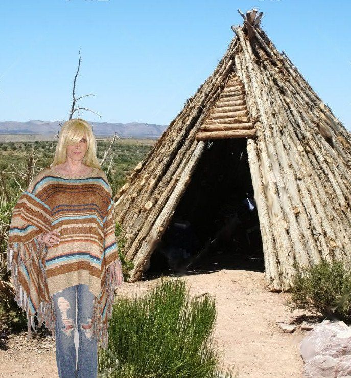 Mexican Blanket Poncho Boho Sweater With Fringe Brown Tan And Turquoise In Sizes…