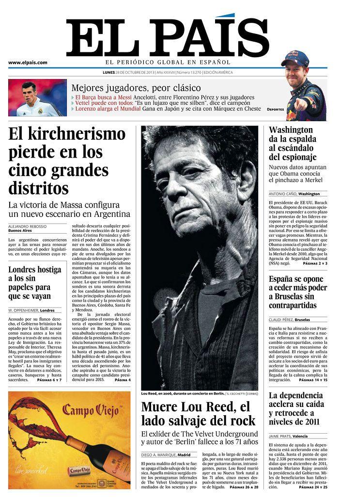Jornais do mundo inteiro deram destaque à morte do cantor Lou Reed. Confira as primeiras páginas de várias publicações no board do @Newseum.