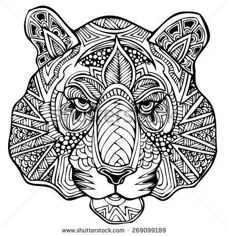Zentangle tiger vector illustration stock vector zentangle pinterest photos art and tigers - Tigre mandala ...