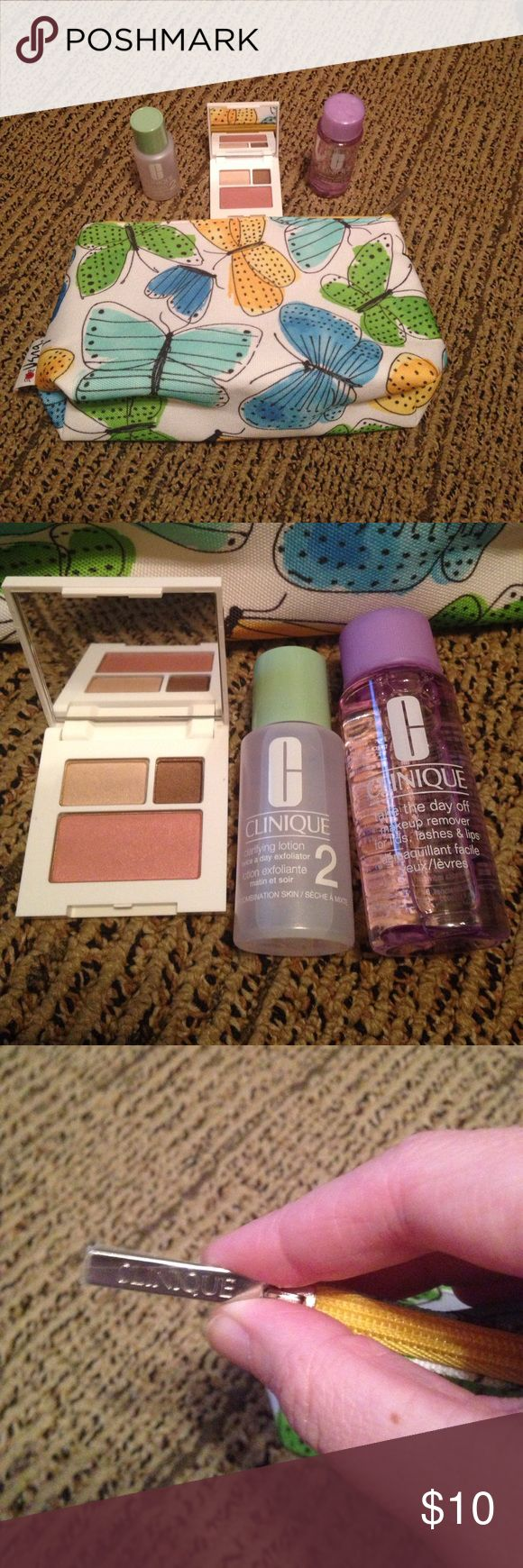 Clinique Beauty Bundle. New! Never Used. Clinique make up bag with butterflies and lady bag print inside. Small travel size Clarifying Lotion 2. Small Take the Day Off Makeup remover for eyes and lips. Small shadow duo/blush. Bundle and Save. Smoke and pet free home. Clinique Makeup