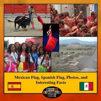 Free Mexican Flag, Spanish Flag, Photos, and Interesting Facts.  Part of a larger unit with all 21 Hispanic countries.  https://www.teacherspayteachers.com/Product/Spanish-Speaking-Countries-Flags-Photos-Maps-PPT-for-21-Hispanic-Countries-1229889