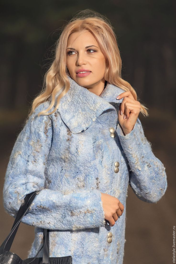 Купить Chaud.. - голубой, Голубое пальто, валяние из шерсти, валяное пальто, бесшовный, теплый, уютный