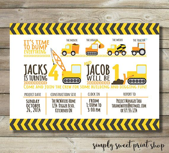 Under Construction Dump Everthing Boy Sibling Joint Birthday Party Invitation - Tractor Dirt Cute Modern DIY Printable Construction Invite