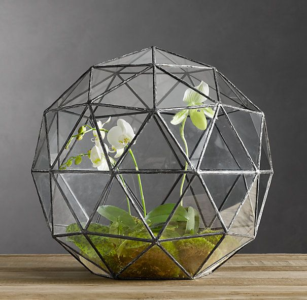 Geodesic Terrarium - SO COOLGeodesic Terrariums, Geode Terrariums, Ideas, Restoration Hardware, Glasses, Plants, Gardens, Restorationhardware, Stained Glass