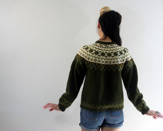 Vintage FAIR ISLE CARDIGAN Fall Wool Knit Avocado by DuetVintage