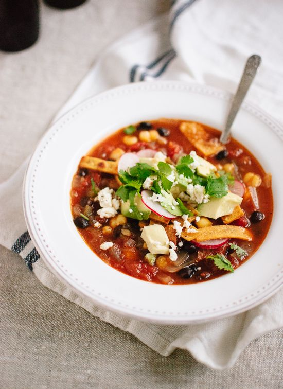 Vegetarian tortilla soup looks pretty amazing! I'm in love with black beans, avocado, corn (hominy!), etc combo - add sweet potato and I've pretty much died and gone to heaven.