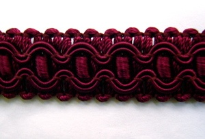 """$20 12 yards of Wrights fancy salon gimp braid in wine (Wrights color code 090), washable. 78% rayon, 18% cotton, 4% polyester, 1/2"""" wide."""