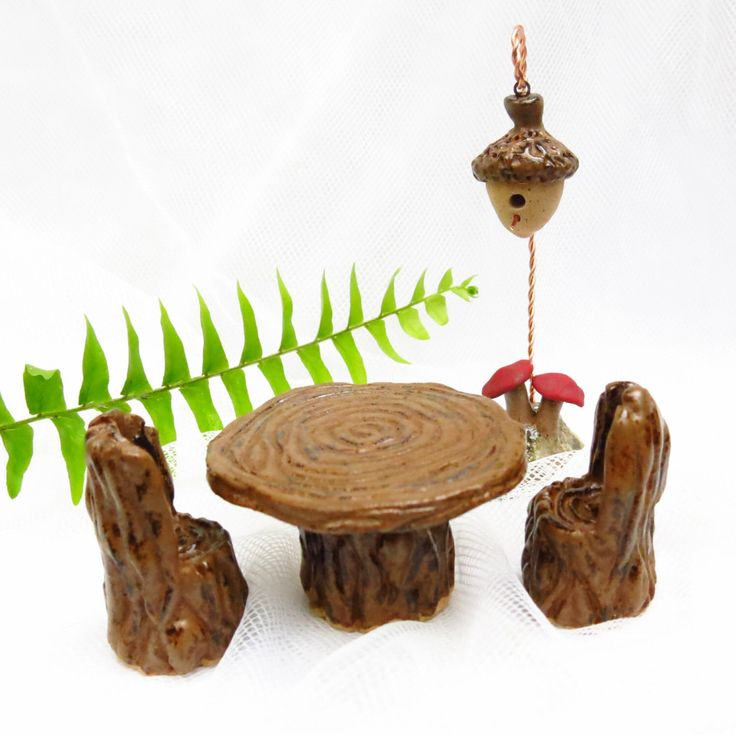 Ceramic Fairy Table and Chairs / Pottery Fairy Furniture / Doll House Tree Chairs / Woodland Garden Accent / Handmade Terrarium Accessory by TuppersPerch on Etsy https://www.etsy.com/listing/192459106/ceramic-fairy-table-and-chairs-pottery