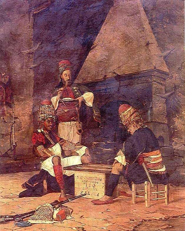 "Osman Hamdi Bey (Turkey, 1842 - 1910)  ""Tavla playing zeybek"" zeybek is another word to point out the bashi-bozouks or kizan"
