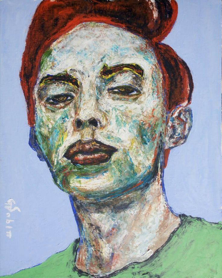 Man with green shirt https://www.saatchiart.com/gsabin #art #artwork #boy #cute #instagood #sale #oilpainting
