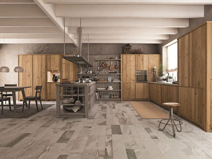 Spruce kitchen with peninsula MAESTRALE 03 Maestrale Collection by Scandola Mobili