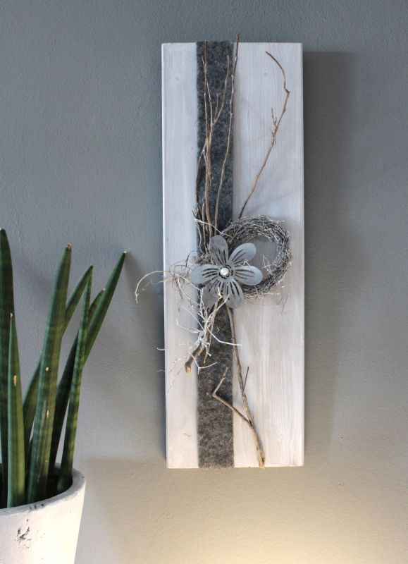 wd104 zeitlose wanddeko passend zur tischdeko und s ule holzbrett wei gebeizt dekoriert. Black Bedroom Furniture Sets. Home Design Ideas