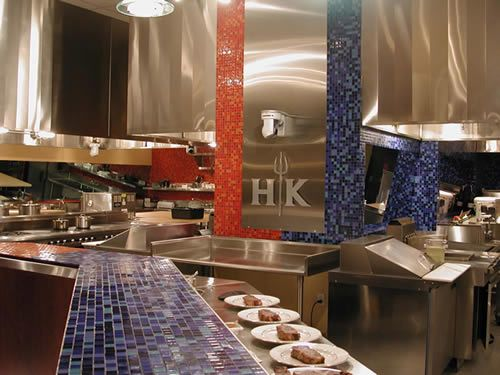 bijou tv hells kitchen blue and red counter and wall - Mosaic Tile Restaurant Ideas