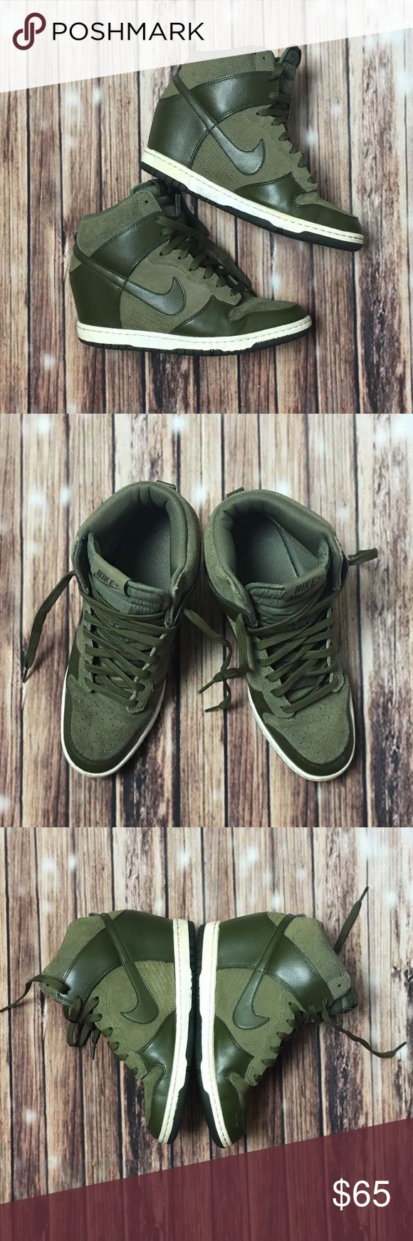 👟 Nike Dunk Sky Hii Wedge Sneaker Women's Nike Sky Hii Sneaker in Olive and Army Green. This sneaker is a size 9.5, runs true to size and is made of leather and nubuck material. Retail price: $125 + tax. These shoes are gently pre owned and still have many wears left. I'm open to reasonable offers, please check out the rest of my closet! xoxo Nike Shoes Sneakers