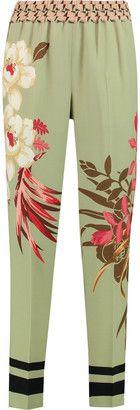 Etro Printed silk-piqué tapered pants - Shop for women's Pants - Cream Pants