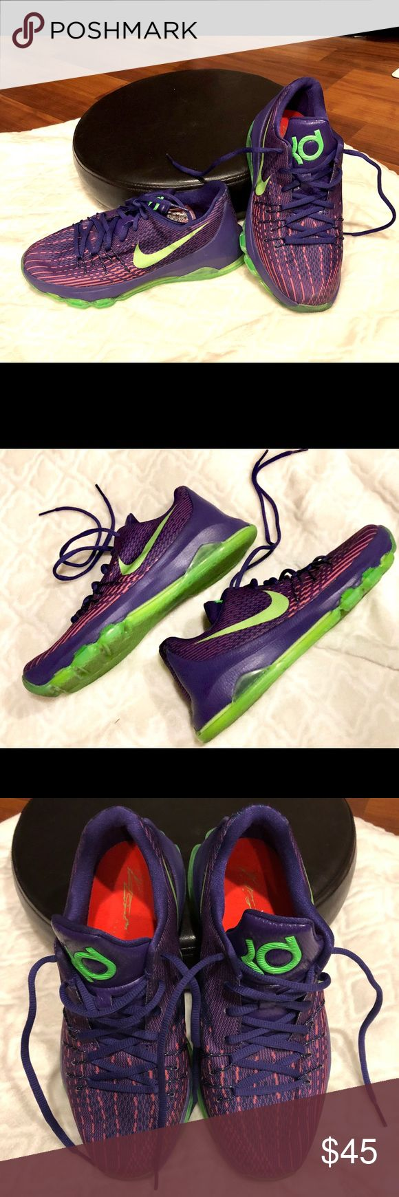 KD8. Kevin Durant Nike /Size 6.5 youth=9 women's ⛹🏽‍♂️KD8, Kevin Durant Nike's.⛹🏽‍♂️In EUC, only worn a few times, still look in newer condition. Size is a Youth 6.5 or a Women's 9. Color in Bright Purple & Neon Green Accent. Shoes only/no box. Priced to sell, but reasonable offers ok. Nike Shoes Athletic Shoes