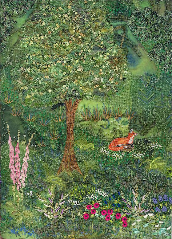 ♒ Enchanting Embroidery ♒ embroidered by Carol Lenthall | Rivendell, an other fox. embroidery ribbons and son silk enriched seed beads and sequins
