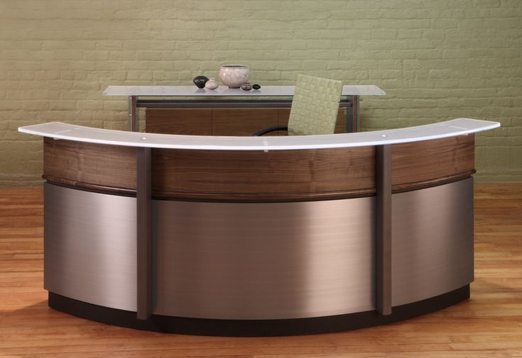 Circular Reception Desk and modern curved Reception desks with Walnut wood, Stainless Steel and Glass counters