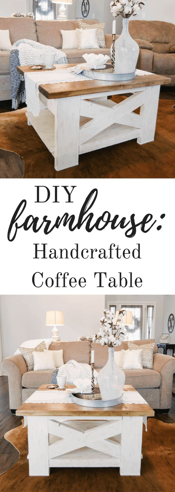Handcrafted Farmhouse Coffee Table #diy #farmhousestyle