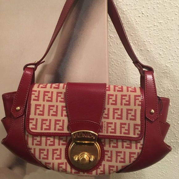 257e4be41aa8 Fendi Red Baguette Bag Authentic