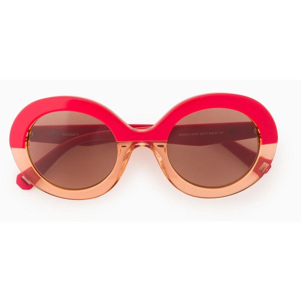 MAX&Co. Oval colour-block sunglasses ($130) ❤ liked on Polyvore featuring accessories, eyewear, sunglasses, red pattern, lens glasses, oval sunglasses, print sunglasses, acetate glasses and red lens sunglasses