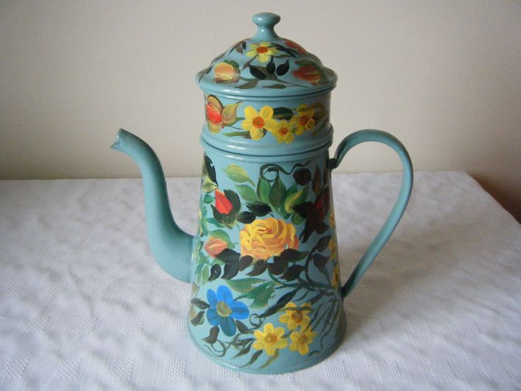 VINTAGE FRENCH ENAMEL EAU DE NIL COLOUR DECORATED HAND PAINTED FLORAL COFFEE POT