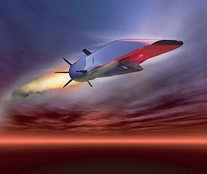 The Boeing X-51 (also known as X-51 WaveRider) is an unmanned scramjet demonstration aircraft for hypersonic (Mach 6, approximately 4,000 miles per hour (6,400 km/h) at altitude) flight testing. It successfully completed its first free-flight on 26 May 2010 and also achieved the longest duration flight at speeds over Mach 5. Rides on its own shockwave,