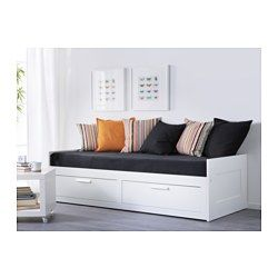 IKEA - BRIMNES, Daybed frame with 2 drawers, , Four functions in one - seating, bed for one, bed for two and two big drawers for storage.