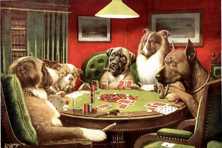 Have to include a doggie poker game in a board devoted to dog art.