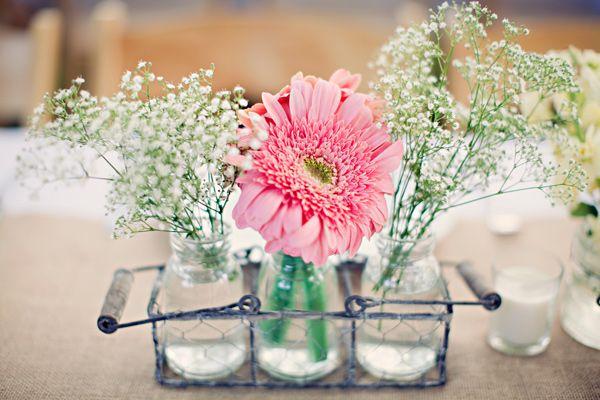 gerbera centerpiece - California Garden Wedding captured by Clayton Austin - via ruffled
