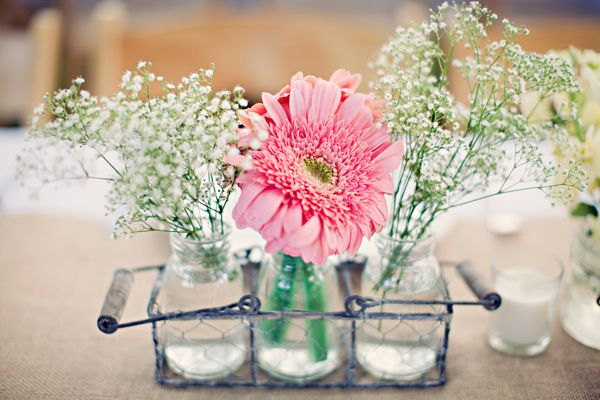gerbera centerpiece - California Garden Wedding captured by Clayton Austin - via ruffled