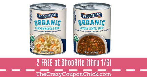 Score 2 FREE Progresso Organic Soups at ShopRite (12/31)