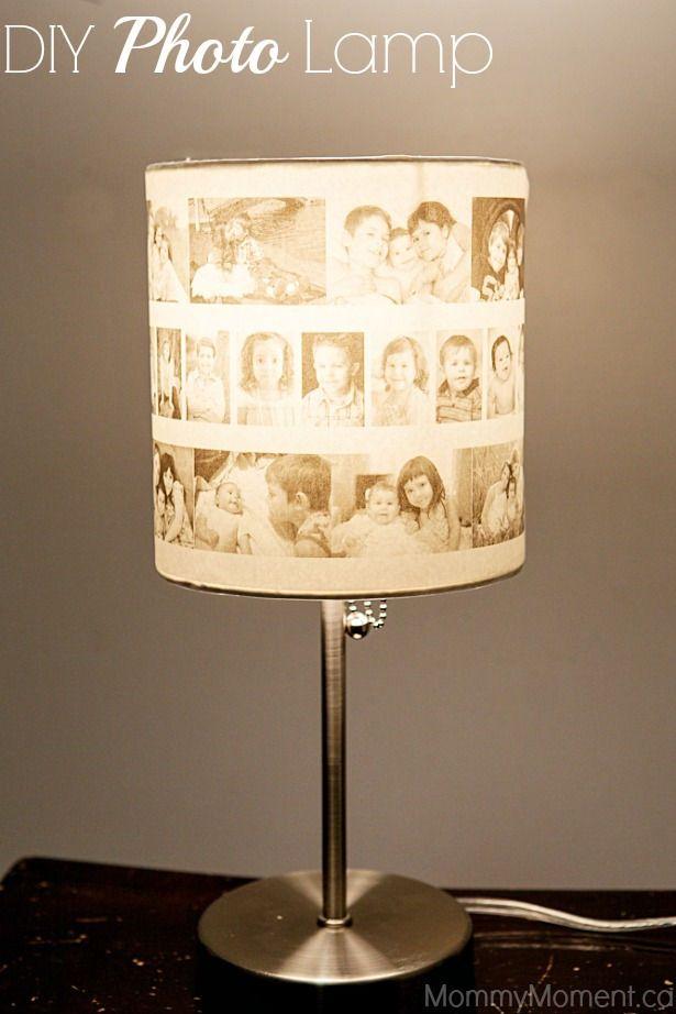 35+ Creative DIY Ways to Display Your Family Photos --> DIY Photo Lamp #craft #tips #photo_display