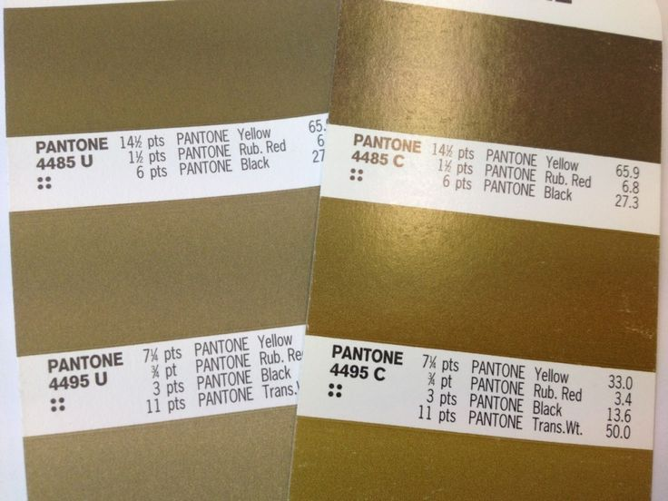 Pantone Gold printed on (RIGHT) C (coated stock) and U (LEFT) (uncoated stock).  This is a normal difference that has to be considered when printing jobs. Coated stock generally produces more vibrant colour and the paper is shiny/glossier and uncoated stock is more dull/nautural.