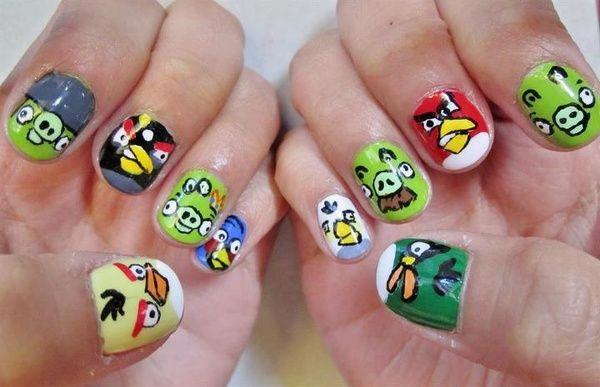 Nail: Nailart, Nail Designs, Bird Nail Art, Birds Nails, Nail Ideas, Angry Nail, Angry Birds, Bird Nails, Angrybirds