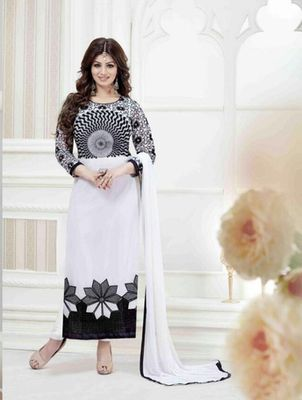 White georgette embroidered semi stitched salwar with dupatta
