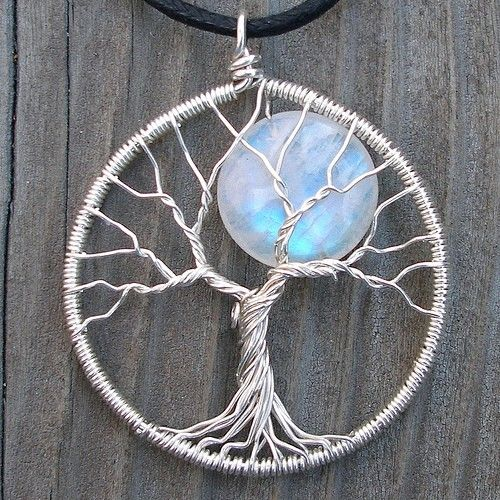 Moon treeJewelry Make, Moon Trees, Trees Of Life, Trees Sterling, Sterling Silver, Pendants Moonstones, Wire Trees, Moon Necklace, Tree Of Life