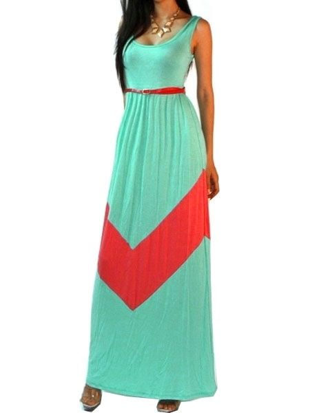 Concise Round Neck Blended Assorted Color Maxi-dress Maxi Dresses from fashionmia.com