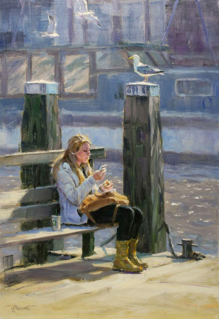 Waterside lunch | oil on panel painting by Richard van Mensvoort