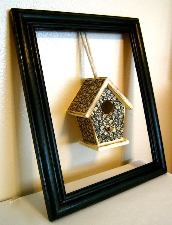 Birdhouse frame home decor piece made using Mod Podge.