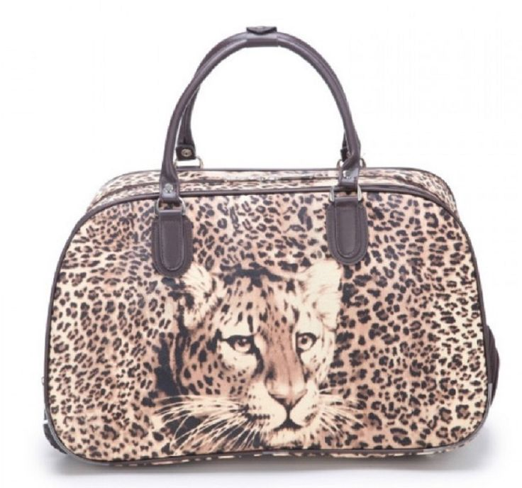 Animal Print Travel Luggage Weekend Bag - Black - The Handbag Hut (leopard, tiger, spots)