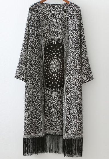 Black White Floral Tassel Loose Casual Kimono 19.91