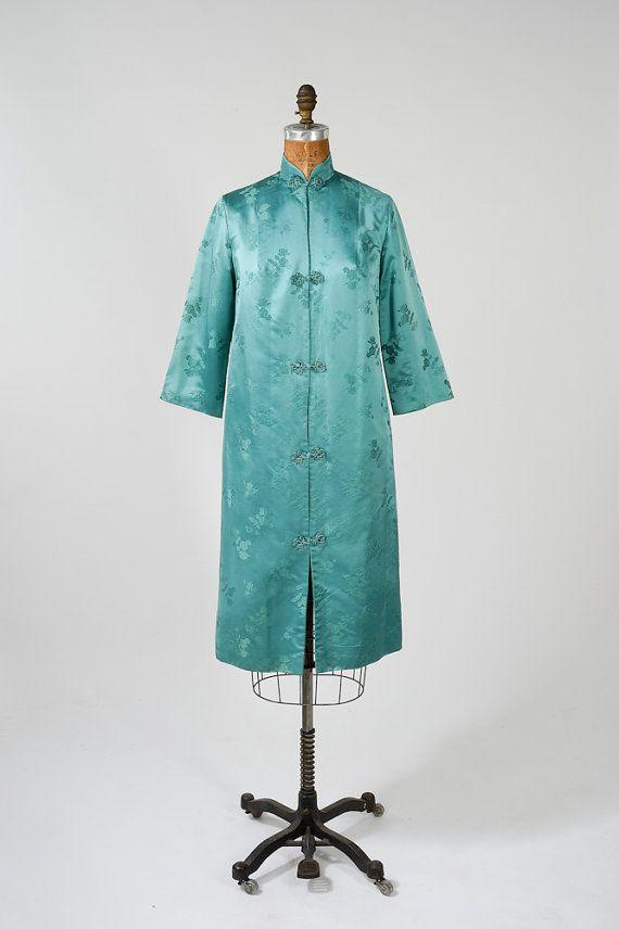 vintage blaugruen asiatische seidenmantel kleid 1950er jahre