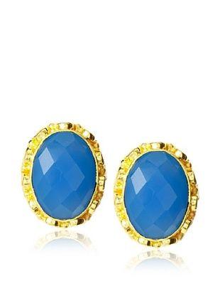 Saachi 18K Gold-Plated Blue Topaz Stud Earrings