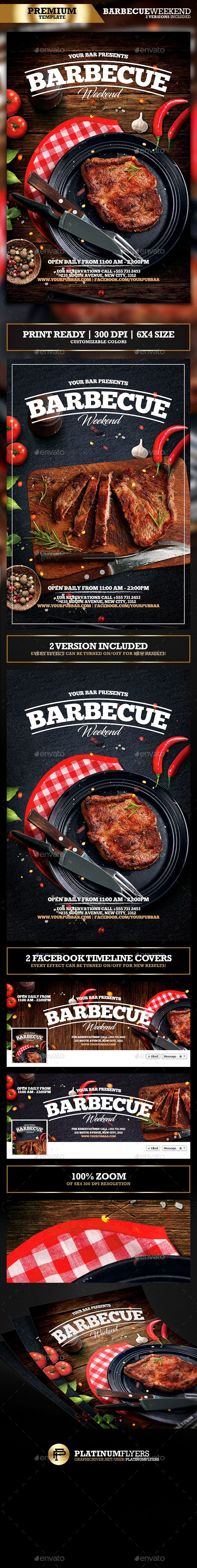 Barbecue BBQ Restaurant Promotion Flyer Más