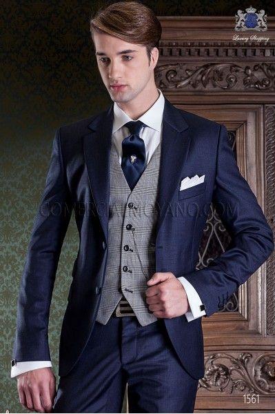 Traje de novio italiano azul marino. Traje de sastrería con 2 botones y exclusivo corte