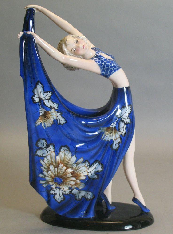 """Fabulous 14.5"""" Goldscheider Art Deco Figurine Dakon Rare Form & Color"""